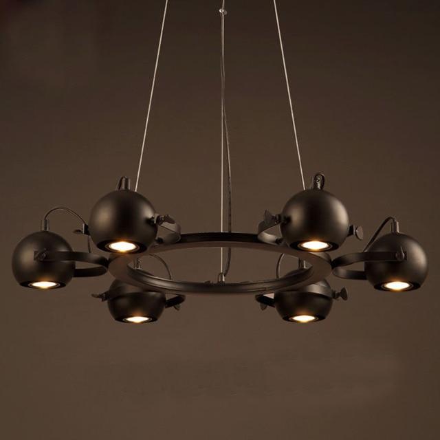 American Iron Led Spotlight Chandelier 6 8 Head Gu10 Metal Ball Retro Pendant Lamp