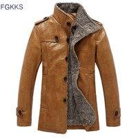 FGKKS Leather Jacket Men Coats Brand High Quality PU Outerwear Men Business Winter Faux Fur Male Jacket