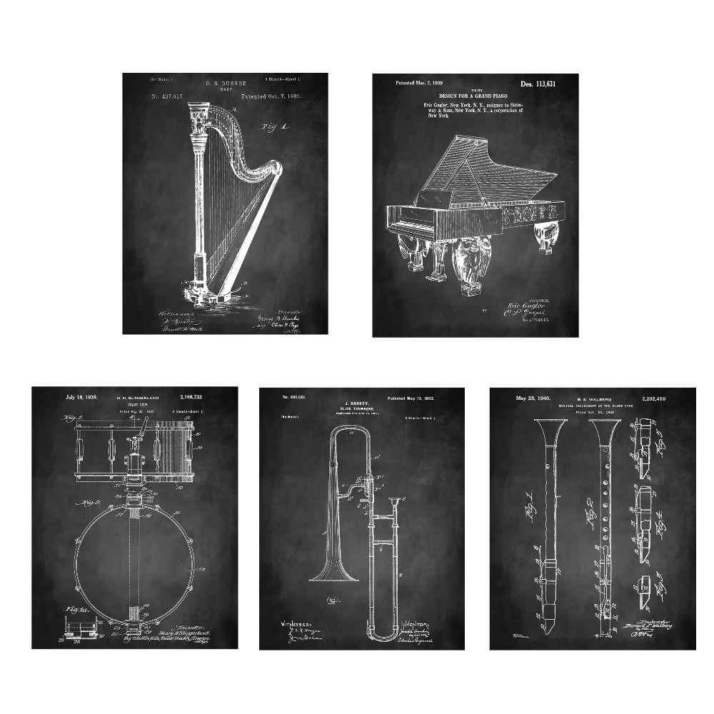 Paten antik, Instrumen seni, G1 poster set 5 in 1 pembibitan pesawat - Dekorasi rumah - Foto 5