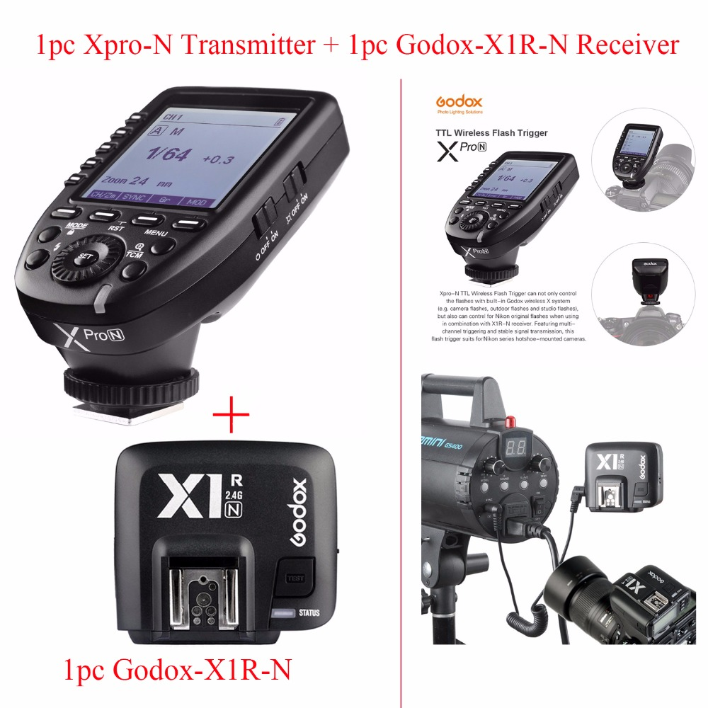 Godox Xpro-N TTL 2.4G Wireless 1/8000s HSS Flash Trigger for Nikon DSLR,1pc Godox Xpro-N Transmitter + 1pc Godox-X1R-N Receiver
