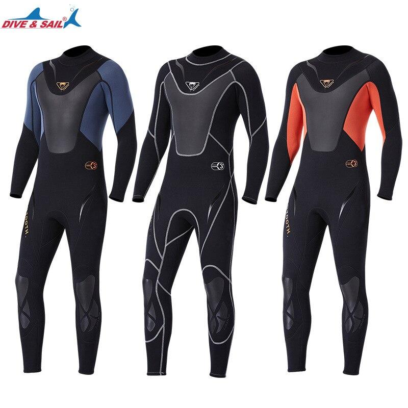 Corpo inteiro homem 3mm neoprene wetsuit surf mergulho terno de natação triathlon terno molhado para água fria mergulho caça submarina