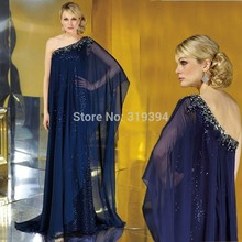 robe de soriee New Dark Navy Long Chiffon Dress Maix 2019 Dubai Kaftan Sequin Arabic vestido festa Custom Made