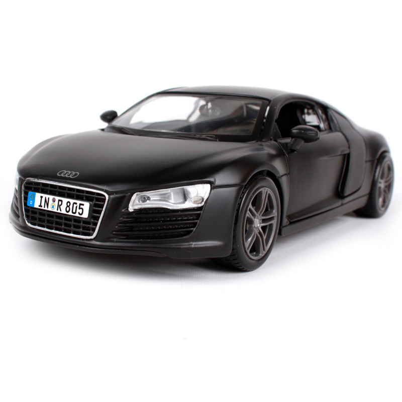 Maisto 1:24 R8 blue cool black car diecast for Audi model 185*85*55mm open bonnet modern motorcar diecast collecting 31281