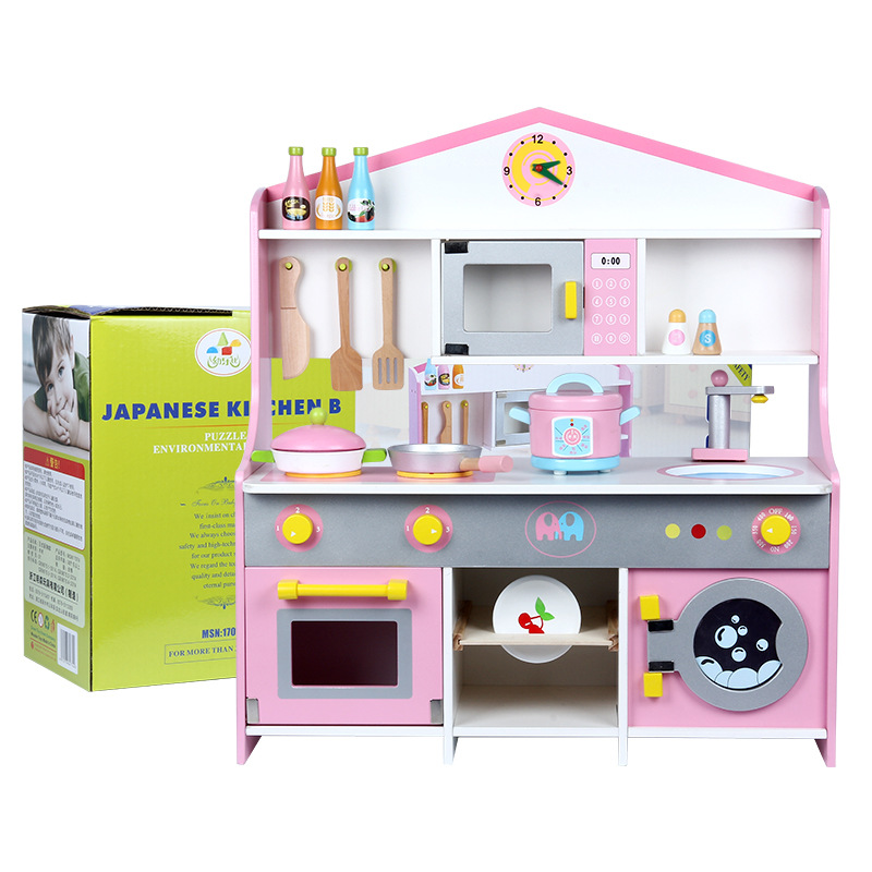 New Japanese Style Wooden  Kitchen  Table Toy Girls And Children Home Play  Cooking Toy Set