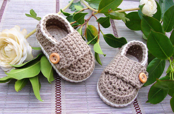 100% cotton Lovely Brown Baby Boys Infant Crib Crochet Knit Casual Buckle Shoes MARY JANE 9cm,11cm,13cm - khaki and white