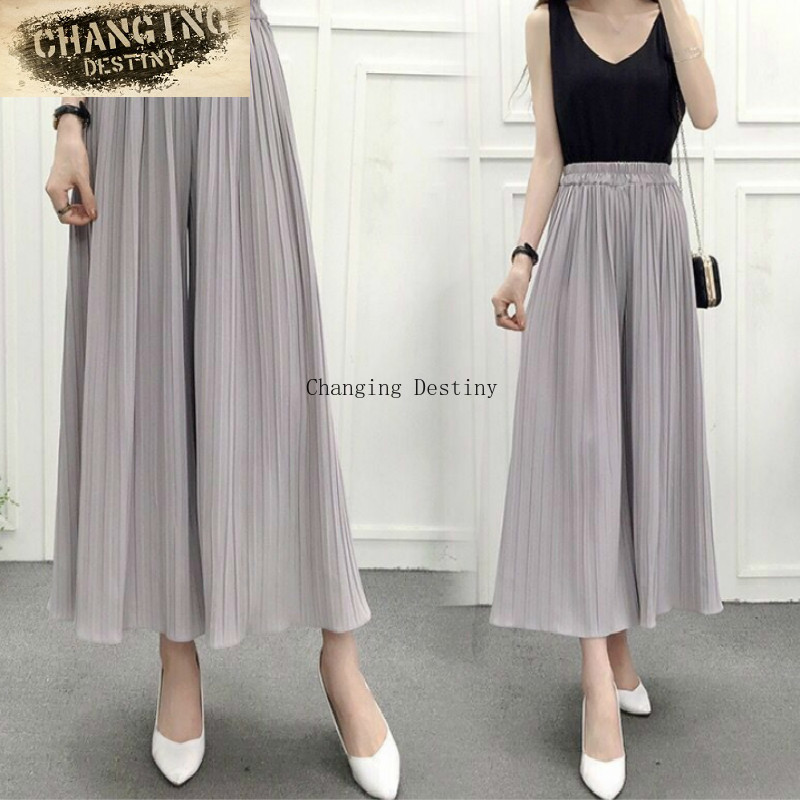 Spring and Summer High Waist Was Thin Casual Loose   Pants   Korean Yards Chiffon Pressure Pleated   Wide     Leg     Pants