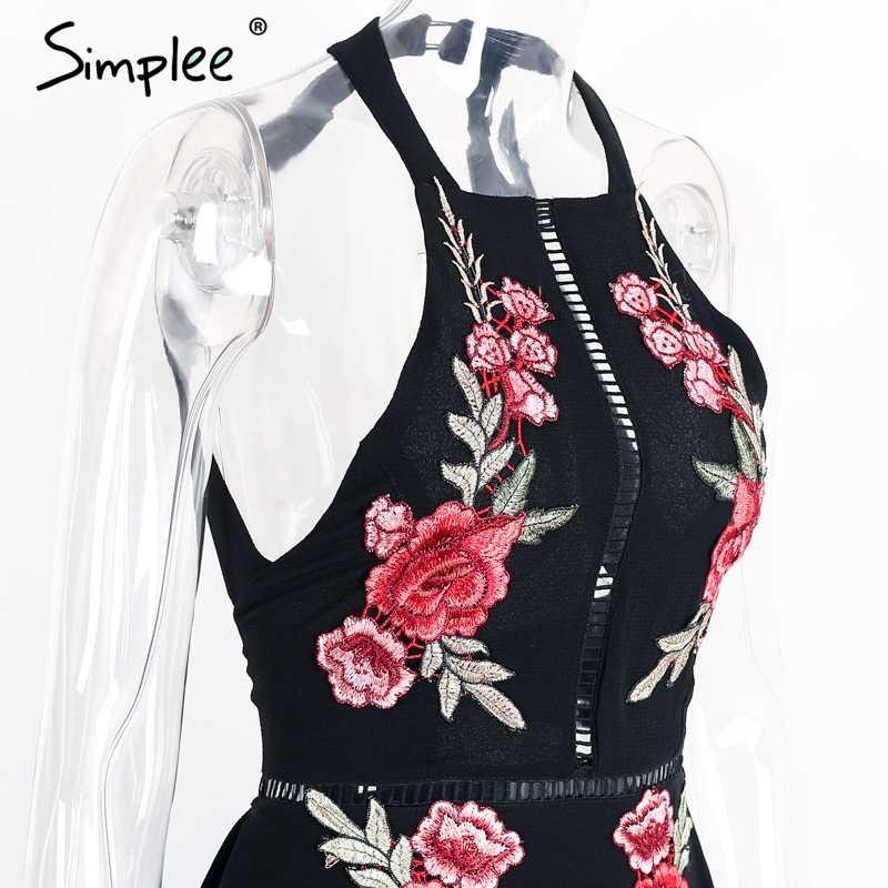 Женское летнее шифоновое длинное платье Simplee, с вышивкой, сексуальное платье с лямкой через шею и открытой спиной, вечернее элегантное черное винтажное платье