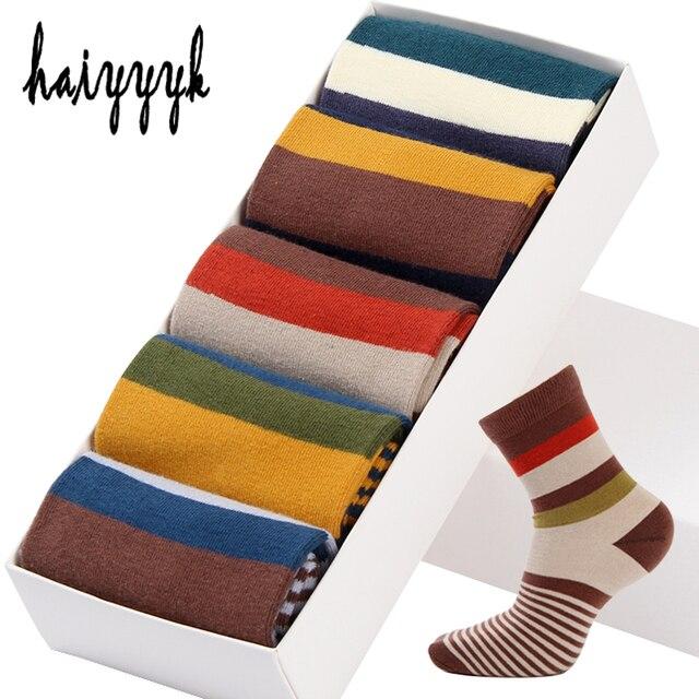 2c4d91a69b232 5 пара/лот хлопковые мужские носки цветные полосатые носки Модные  компрессионные Happy Crew носки мужские