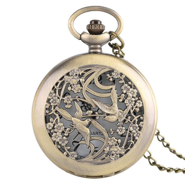 Fob Classical Hollow Eurasian Magpie Design Pocket Watch Pendant Chain Necklace