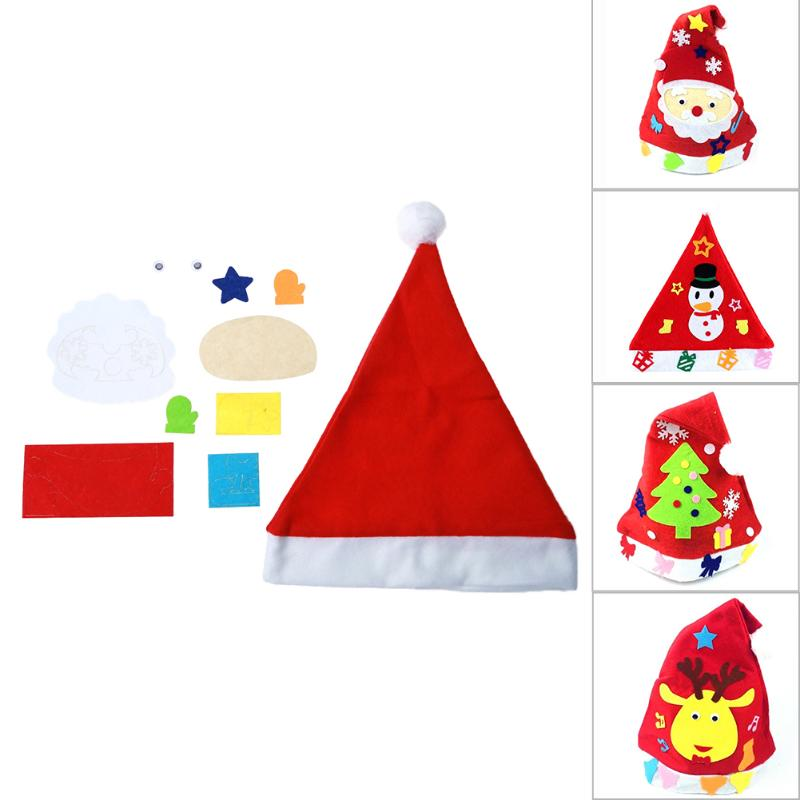 DIY Toy Christmas Hat Xmas Baby Kids Educational Hat Craft Kit Handmade DIY Cloth Christmas Hats Toy