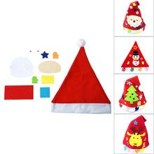 DIY Toy Christmas Hat Xmas Baby Kids Educational Hat Craft Kit Handmade DIY Cloth Christmas Hats