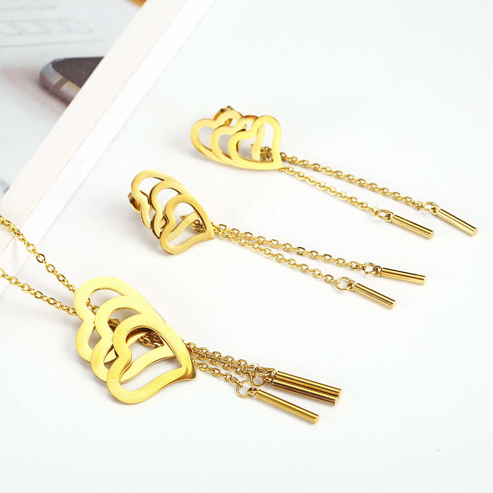 OUFEI Heart-shaped Stainless Steel Jewelry Woman Sets Fashion Jewellery Sets 2019 Gifts for Women Bohemian Wholesale lots bulk