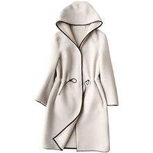 Натуральный мех пальто стрижки овец меха ягненка шубы 2018 зимнее пальто Для женщин шерстяная куртка с капюшоном топы PU подкладка длинные корейские Топы ZT254