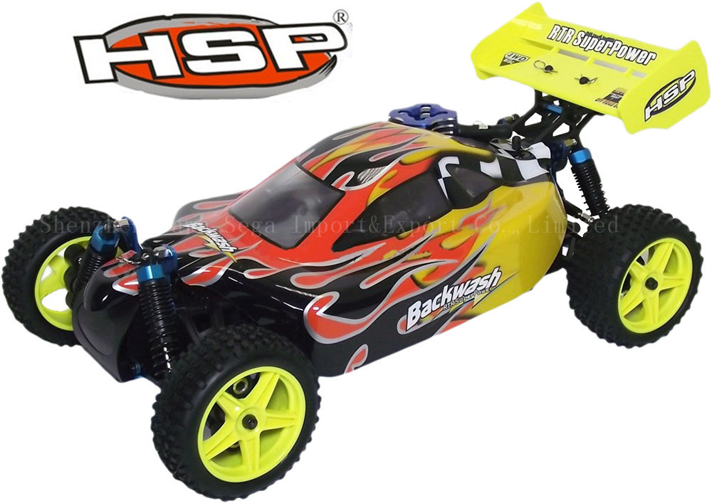 HSP Remote Control Toys Baja BACKWASH 1/10th Scale Nitro Power Advanced Off Road Buggy 4WD RC Hobby Car 94166 hsp rc car 1 8 nitro power remote control car 94862 4wd off road rally short course truck rtr similar redcat himoto racing