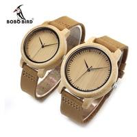 BOBO de AVES de Las Mujeres Relojes Reloj de Cuero Auténtico Real De Madera De Bambú banda de Cuarzo Reloj de Pulsera Como Regalo Para Las Señoras Relogio mujer 2017