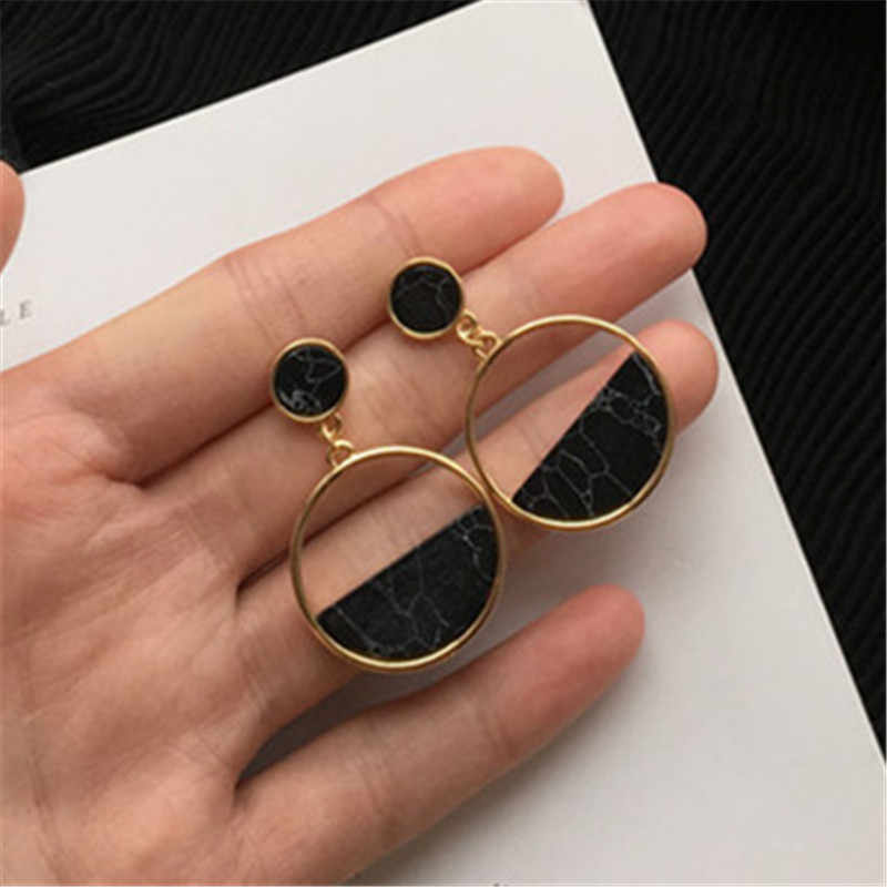 Hot Women earrings stone Vintage Natural marble joker stud earring Classic geometric circular fashion popular earrings for women