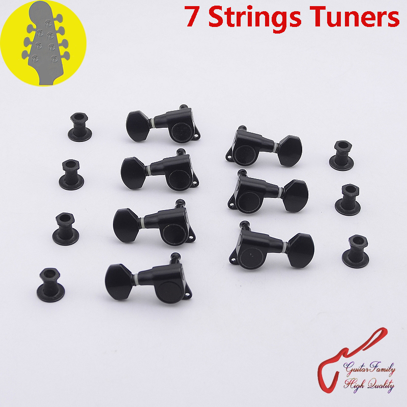 1 Set GuitarFamily R3+L4 7 Strings Guitar Machine Heads Tuners Black MADE IN KOREA retail new big john 7 strings single wave electric guitar brick guitar with black hardware made in china free shipping f 2020