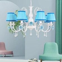 Art Deco Nordic Bedrom Rustic Rural Pink Blue Flower Led Pendant Light Modern 220V Hanging Lamp Lights Living Room Dining