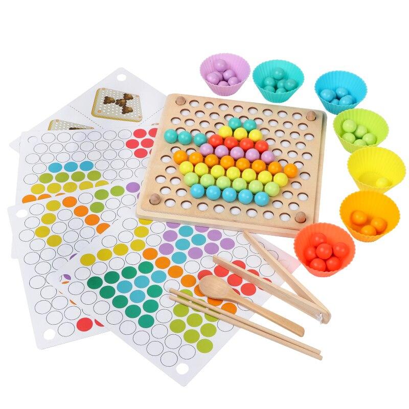 Enfants jouet bricolage 3d Puzzle enfants début Montessori mains cerveau formation Clip perles multi-fonctionnel apprentissage en bois jouet pour enfants