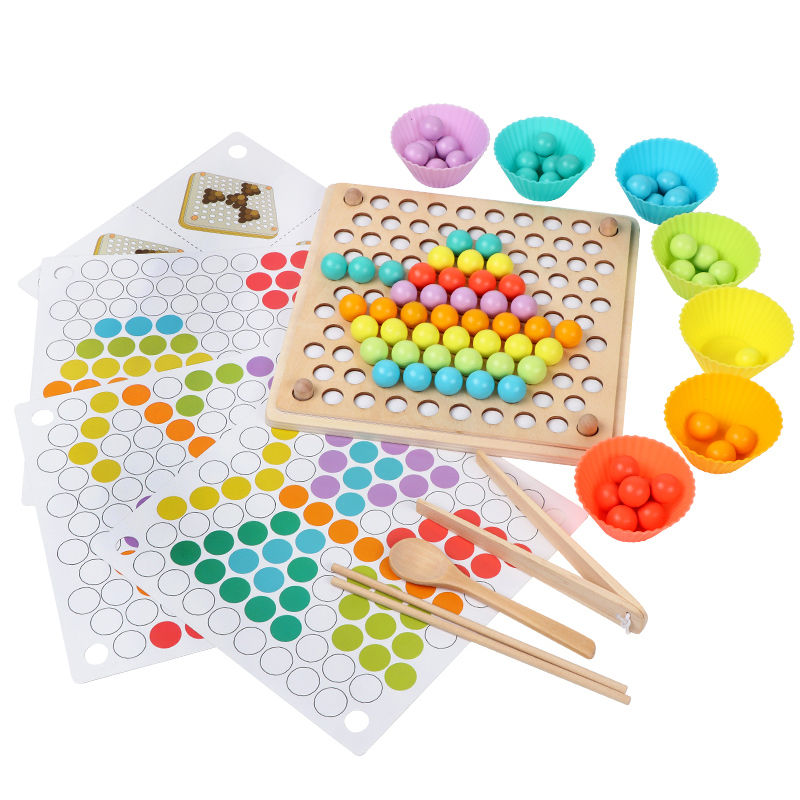 Kids Toy DIY 3d Puzzle Kids Early Montessori Hands Brain Training Clip Beads Multi-functional Learning Wooden Toy For Children