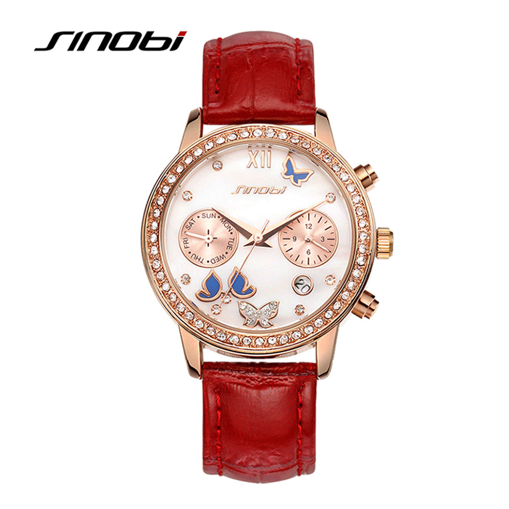 SINOBI Luxury Fashion Ladies Quartz Watches Diamond Dial Red Leather Strap Clock montre femme 2018 Wrist Watch Mothers Day Gifts women watches top brand luxury fashion slim red leather strap roman numerals dial quartz wrist watch ladies clock montre femme