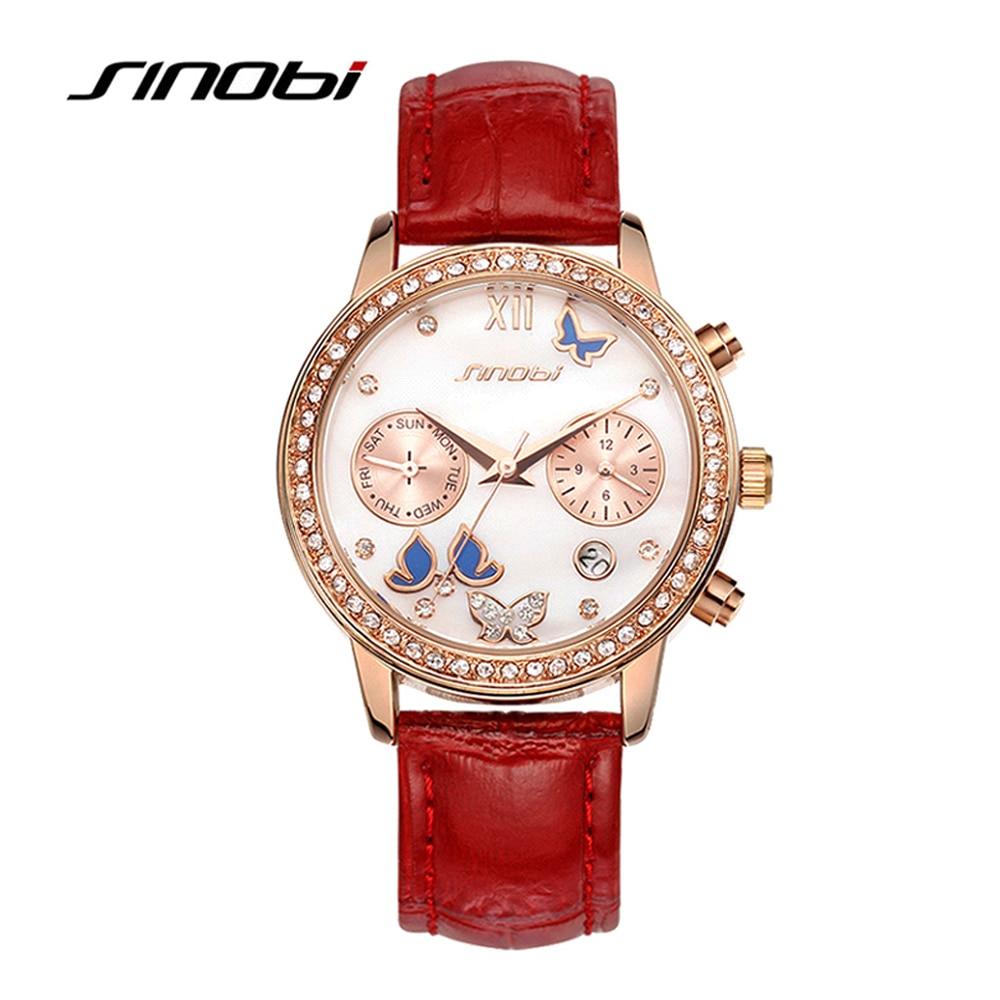 SINOBI Luxury Fashion Ladies Quartz Watches Diamond Dial Red Leather Strap Clock montre femme 2018 Wrist Watch Mothers Day Gifts цена