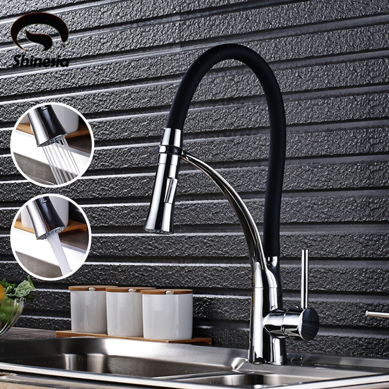 Black and Chrome Finish Kitchen Faucet Deck Mount Pull Out Dual Sprayer Nozzle Hot & Cold Water Kitchen Sink Faucet Mixer Taps
