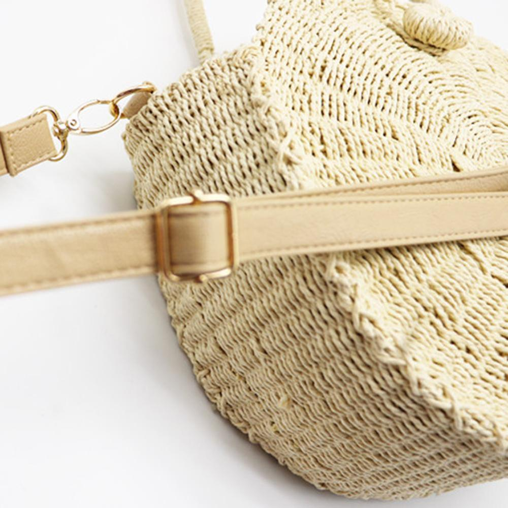 Outdoor Beach Circular Straw Braided Woven Beach Bag Natural Fashionable Versatile Handbag Sling Crossbody Bag For Ladies in Top Handle Bags from Luggage Bags