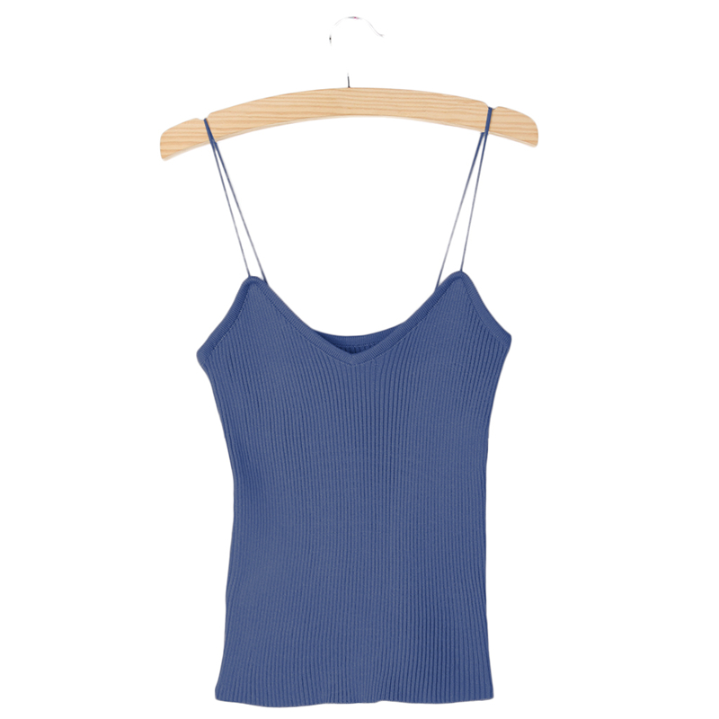 KLV Knitted Tank Tops Women Summer Camisole Vest simple Stretchable Ladies V Neck Slim Sexy Solid Strappy Camis Tops New