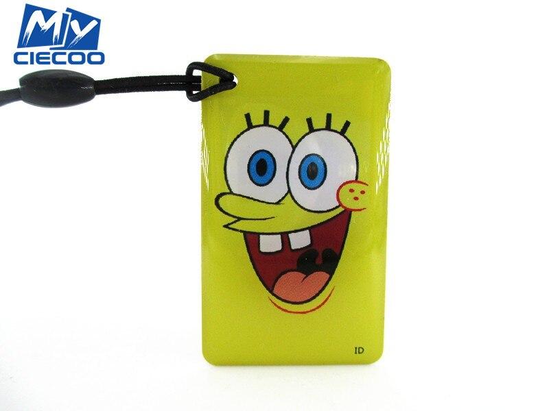 free shipping 10PCS 125Khz RFID cartoon SpongeBob keytags Writable Rewrite Proximity T5577 Key Tags  Keyfobs for access control