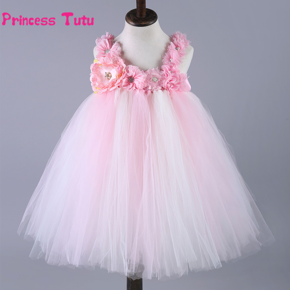 New Flower Girl Princess Dress Kids Party Pageant Wedding Bridesmaid Tutu Dresses Pink Tulle Birthday Ball Gown Formal Dress
