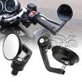 "Negro 7/8 ""22 cm De Aluminio Manillar Bar End Espejos Retrovisores Laterales de La Motocicleta Universal para Yamaha Honda Kawasaki Bici de La Calle Nueva"