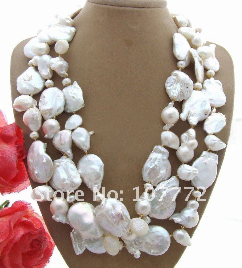 3 strands 20 MM Keshi White Pearl Necklace pink coral white keshi pearl 18 11 strands necklace women jewerly