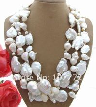 3 strands 20 MM Keshi Collar de Perlas Blancas