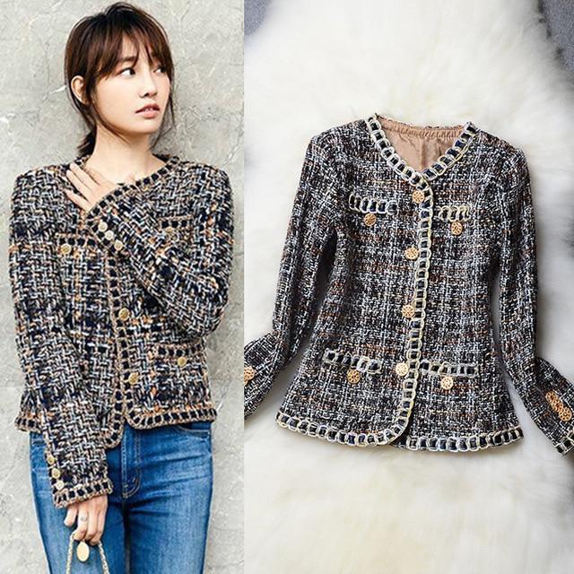 e1917b3984b37 2017 Runway Designer Weave Tweed Jackets Loose luxury women Top Quality  Slim Fit Coat Elegant Jacket Gold Buckle Outerwear S~XL