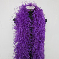New 2 Meters 6 Layer Purple Natural Ostrich Feathers Boa Quality Fluffy Costumes / Trim for Party / Costume / Shawl / Available
