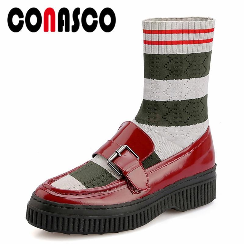 CONASCO 2019 automne hiver bottines Stretch tissu chaud femmes botte de neige en cuir court fête chaussures de danse femme bottes courtes