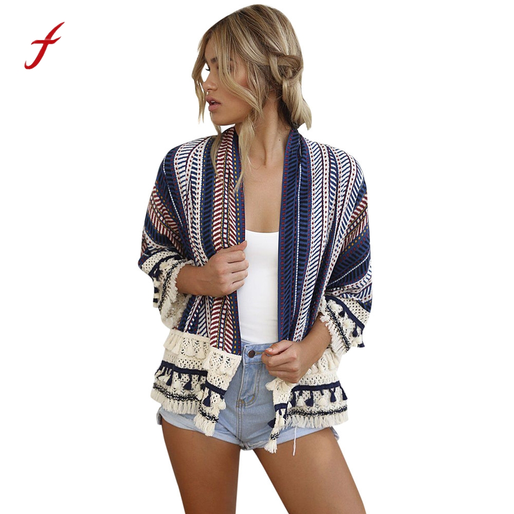 2017 Floral Print Loose Shawl Kimono Cardigan Fashion Boho Top Cover up Shirt Blouse Outwear blusas feminina Tassel