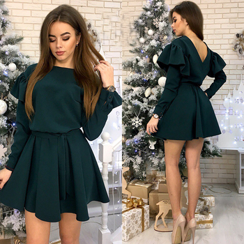 Women Sashes Ruffled a Line Party Dress Ladies Long Sleeve O Neck Elegant Dress 2019 Female autumn Solid Mini Dress 6