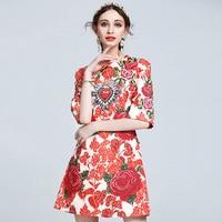 Boutique Inspiriert Mode Stickerei Kleid 2017 Vintage Nationalen Trend Rot Bedrucktes Kleid