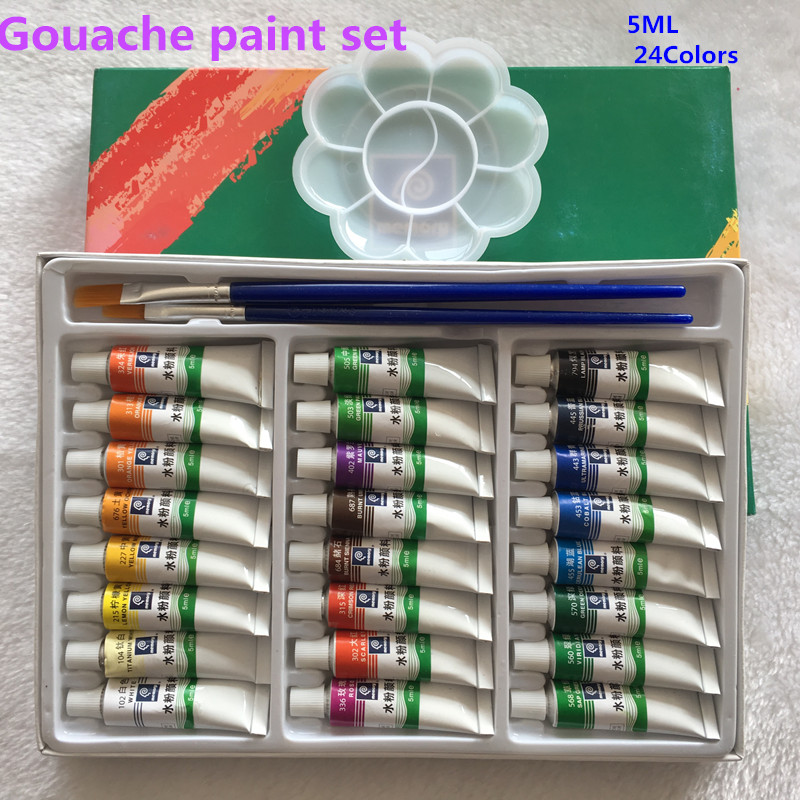 5ml*24 Pieces  Gouache Paint Set  Watercolor Paints Professional Paints For Artists  Free For Brush And Paint Tray