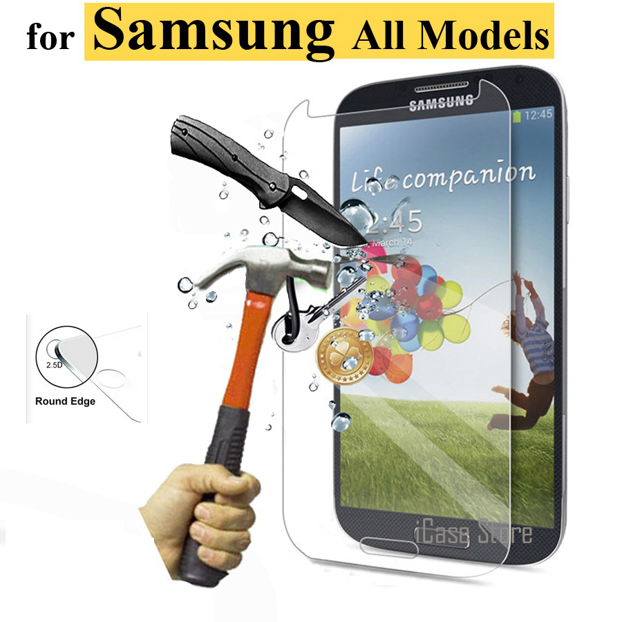 Tempered Glass For <font><b>Samsung</b></font> Galaxy S2 S3 S4 S5 S6 mini <font><b>SM</b></font> G360 <font><b>G355h</b></font> G530 G7106 i9060 J5 GT i8262 i8552 c7 note 2 3 4 5 Film <font><b>Case</b></font> image