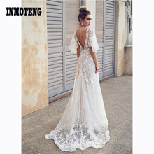 Women Half Sleeve 2019 New White Backless Floral Formal Bridesmaid Elegant Female Long Party Ball Prom Gown Voile long Dresses