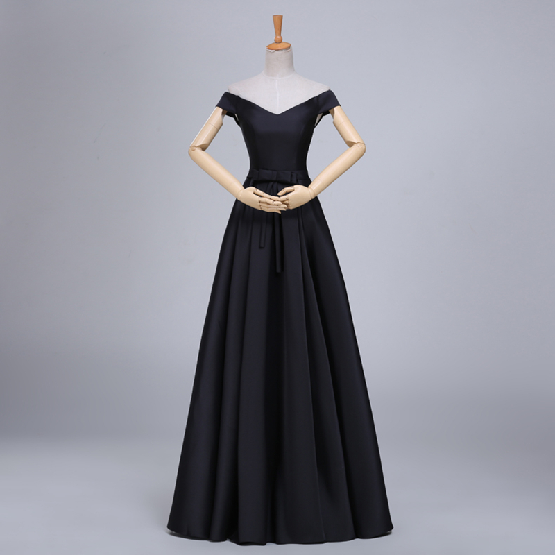 Real Photo Robe De Soiree Short Sleeves Black Color Satin Long   Evening     Dresses   New Floor Length Top Cheap Prom   Dresses