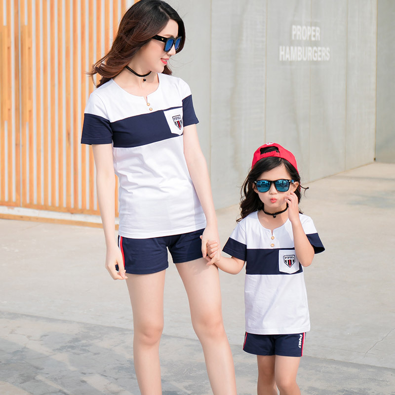 1f417b3c1bd Sporty Family Matching Outfits Summer Family Look Clothes Set Hot Style  Cotton Short Sleeve V Neck T Shirt With Shorts 2pcs Sets-in Matching Family  Outfits ...