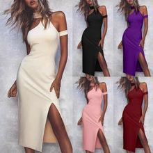 Sexy Women Ladies Cold Shoulder Sleeveless Split Dress Summer Evening Party Midi Dresses