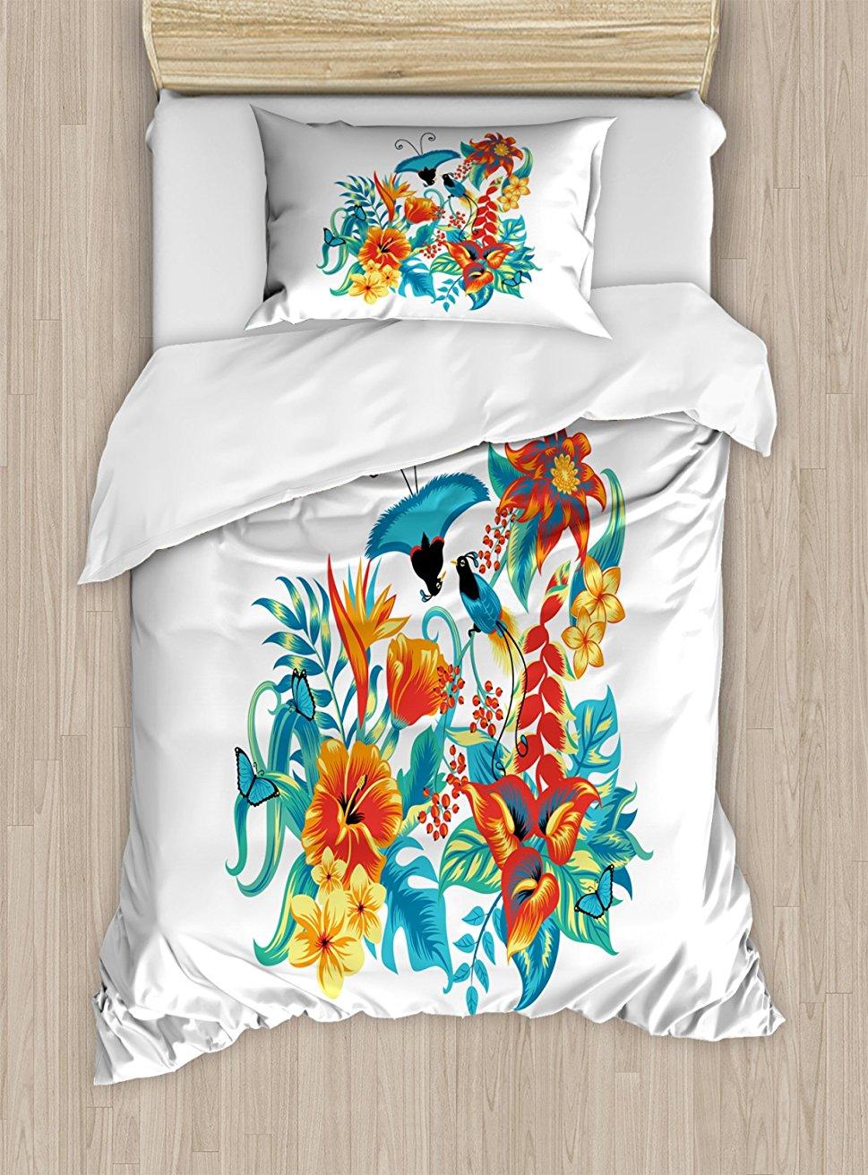 Flowers Duvet Cover Set Tropical Exotic Jungle Foliage with Birds Hawaiian Island Flowers Retro Decorative 4 Piece Bedding Set