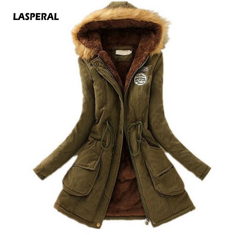 LASPERAL New Parkas Jacket Coat Outwear Thickening Female Womens Cotton Winter Fashion