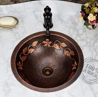 Copper Classical Full Bronze Basin Wash Basin Counter Basin Vintage Handmade Basin Rustic Flower