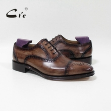 cie Bespoke Handmade Semi brogue Medallion Square Toe 100%Genuine Calf Leather Mens Dress Oxford Goodyear Welted Men Shoe OX 09